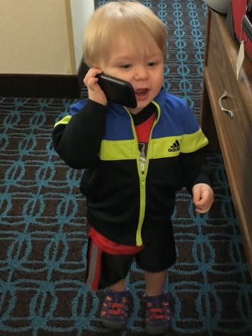 Noah on the telephone